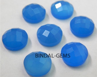 10 Pieces Lot Blue Chalcedony Round Shape Checker Cut Loose Gemstone