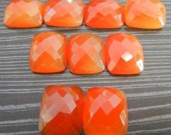 15 Pieces Lot Carnelian Octagon Cushion Checker Cut Gemstone