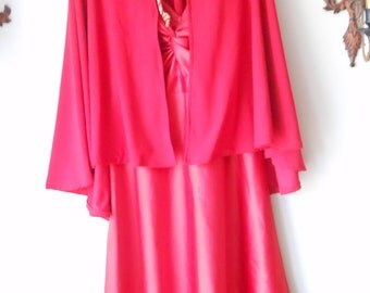 1990s Upcycled Red Satin Devil Dress With Cape and Horns Small medium