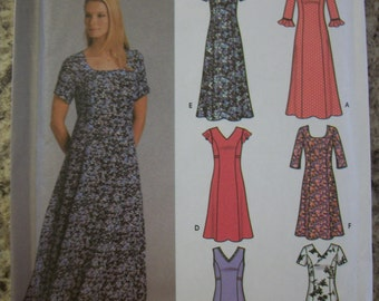 Simplicity 5189 (Misses Size KK 8,10,12,14) Pullover dress in 2 lengths with neckline variations. 6 dresses made easy