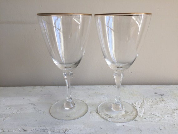2 vintage lenox mansfield gold rimmed crystal by 1350northvintage - Lenox gold rimmed wine glasses ...
