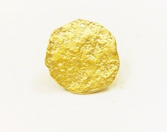 Vermeil, 18k gold plated over 925 sterling silver disc, vermeil disc, matte gold disc