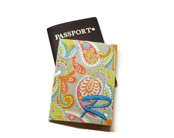 Retro style paisleys passport holder, case, cover. Machine embroidery personalization available. Monogrammed travel gift. Graduation gift.