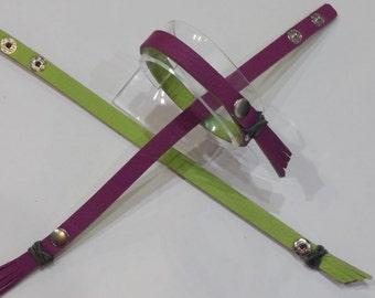 Spirit LYNN Two Tone Color Snap Leather Bracelet