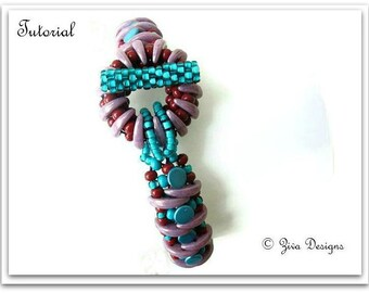 Tutorial Crescent and button beads bracelet, beadweaving instructions, wearable art jewelry diy instructions, button and crescent beads