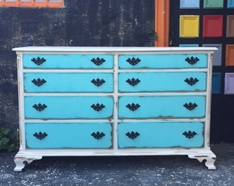 Vintage shabby chic solid wood Dresser * Free NYC Delivery!