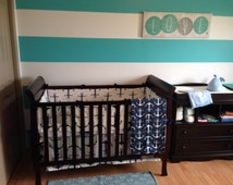 Crib Bumper navy blue anchors on white with navy ties