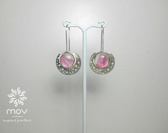 Pink Moon Silver Earrings