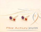 mini stud earrings -  Sterling Silver Ear Studs - Purple, Red - Polka dot  earrings -  Spring - Summer  - Valentine's Day