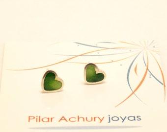 Heart stud earrings -  Sterling Silver Ear Studs - Green -  Heart earrings -  Spring - Summer  - Valentine's Day