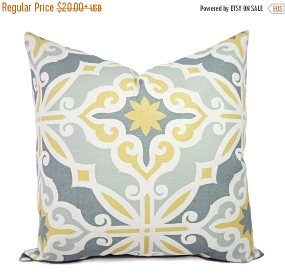 15% OFF SALE Two Yellow and Grey Pillow by CastawayCoveDecor