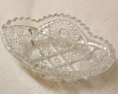 50s Imperial Glass Sawtooth Bon Bon Hobstar Dish Bowl