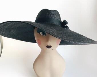 Black Panama Straw Hat - Large brim Fedora Sun Hat