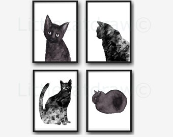 Black Cats Print Set Of 4 Art Prints Minimalist Black and White Prints Black Cat Decor Cat Prints Watercolor Painting Unframed Wall Decor