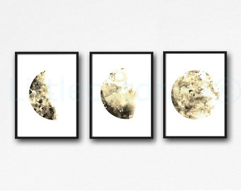Moon Print Sepia Moon Phase Print Set of 3 Watercolor Prints Luna Minimalist Lunar Phases Moon Art Home Decor Wall Art Prints Unframed
