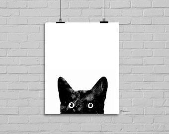 Peeking Black Cat Watercolor Painting Art Print