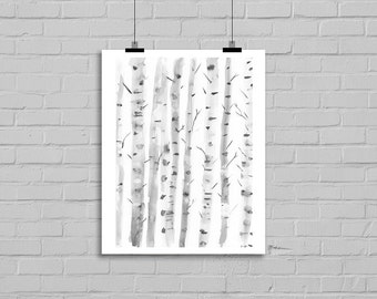 Birch Trees Silver Birches Nature Tree Art Watercolor Painting Print