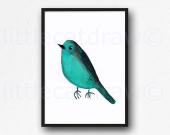Bird Print Teal Bird Print Watercolor Painting Art Print Illustration Art Drawing Watercolor Print Living Room Decor