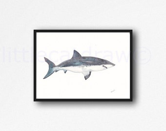 Shark Print Pretty Shark Watercolor Print Shark Week Watercolor Painting Wall Art Watercolor Sea Print Wall Decor Unframed