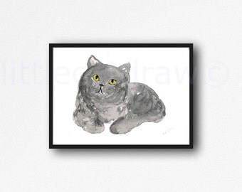 Cat Print British Shorthair Cat Grey Cat Watercolor Painting Print Illustration Cat Lover Gift Watercolour Cat Unframed