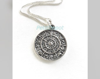 Astral Chart Sterling Silver Zodiac Calendar Medallion Astral Wheel Zodiac Chart Large Charm Necklace