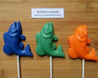 FISH Chocolate Pops (12) - BASS Fishing/Father's Day Gift/FIshing TOURNAMENT