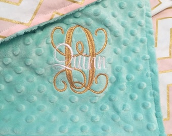 Pink, Gold and Mint Minky Dot Baby Blanket