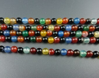 rainbow agate gemstone beads, polished round agate stone beads, blue,red,green,yellow,black beads 6mm 8mm 10mm strand