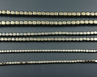 Natural Gemstone Gold Hematite Beads Cube Beads Loose Stone Beads Wholesale 2mm 3mm 4mm 15'' Strand