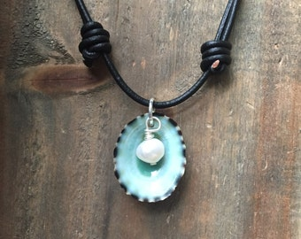 Turquoise Seashell Necklace, Limpet Seashell Pendant, Real Seashell Necklace, Beach Necklace
