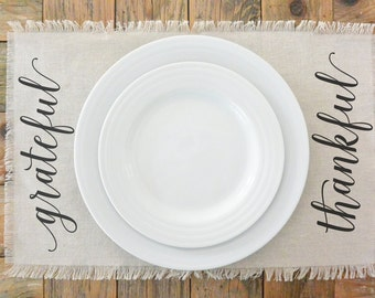 Gather - Thankful Placemat_table setting, tableware, place setting, housewarming gift, party, dinner, event, thanksgiving, fall