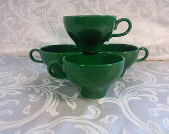 Homer Laughlin Wheat Americana Green Charm House Shape Tea Or Coffee Cups Vintage Dinnerware Holiday Table Retro Kitchen Decor 3DsVintage