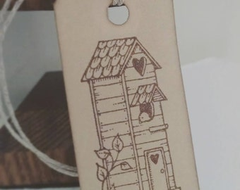 12 hand stamped gift tags, rustic birdhouse, tall birdhouse gift tags, garden theme gift tags