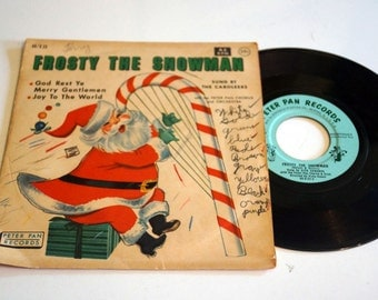 Vintage Frosty the Snowman 45 Record with sleeve