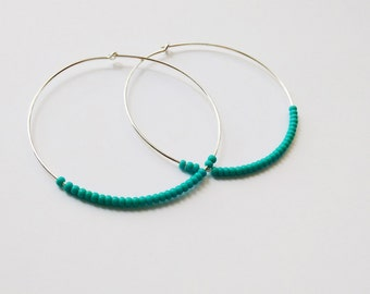 Large Sterling silver hoops, turquoise hoop earrings, teal hoops, seed bead earring, blue earrings, beaded earring,dainty earring,thin hoops