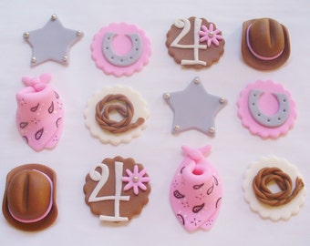 12 COWGIRL Theme Edible Fondant Cupcake Toppers, Personalized