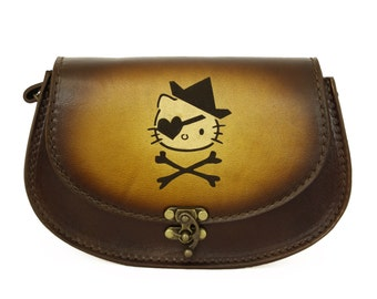 Vintage Handmade Genuine Brown Leather Handbag with a Pirate Kitty Decoration