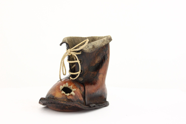 shoe pen holder handmade boot vintage genuine leather