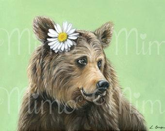 Grizzly bear art print. Bear giclée paper print. Brown bear nursery art.  Kids bedroom decor. Bear giclée archival print. Bear decor.