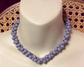 Vintage 1950's lavender acrylic beads grape cluster collar necklace