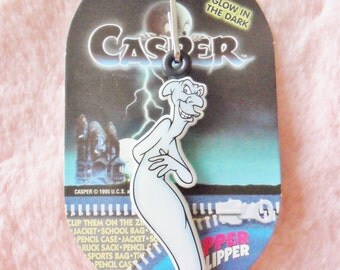 Vintage 90s Retro Casper The Friendly Ghost Halloween Glow In The Dark Fatso Stretch Stinky Zipper Clipper Keyring