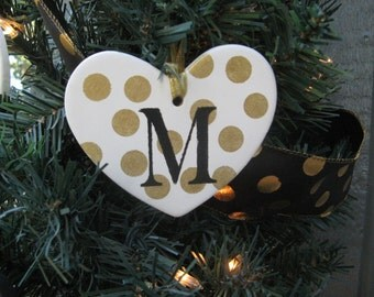 Personalized Christmas Ornaments / Heart Shaped Ornaments / Black, white, and gold polka dots / wreath accessory / package tie on / gift tag