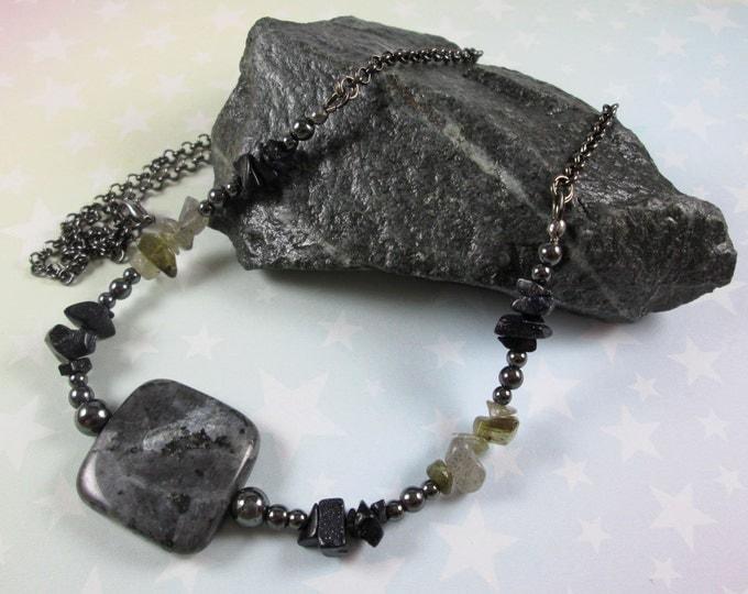 Larvikite Necklace - Blue Goldstone & Labradorite Chips