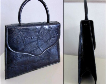 60s Frog skin Purse / Vintage Frog Skin Purse / 60s Navy Exotic Skin Purse / 60s Navy Blue Frog Purse