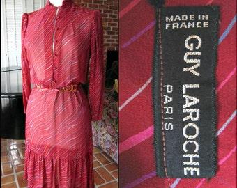 GUY LAROCHE Dress / 70s Guy Laroche Dress / fits S-M / Guy Laroche Boho Peasant Dress / Vintage Guy Laroche Silk Dress