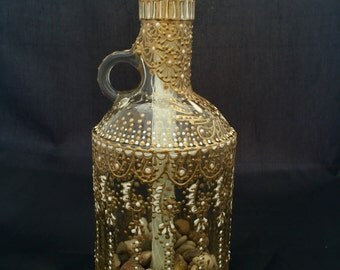 Hand Painted Wine Bottle Tiki Torch (Gold & White)
