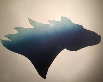 Blue galvanized horse head