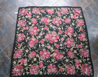 Vintage Laura Ashley beautiful floral viscose scarf with a black background to brighten up your Little Black dress