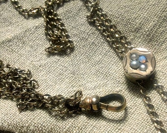 Victorian OPAL & Seed Pearl Slide Watch Chain Necklace