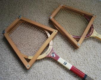 Vintage Wilson and Spalding Tennis Rackets - Interior Design - Retro Sporting - Repupose